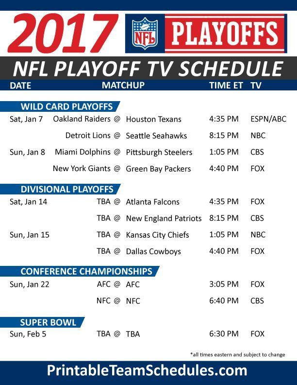Nfl Playoff Tv Schedule 2017 Print Here Nfl Playoffs Stream Nfl