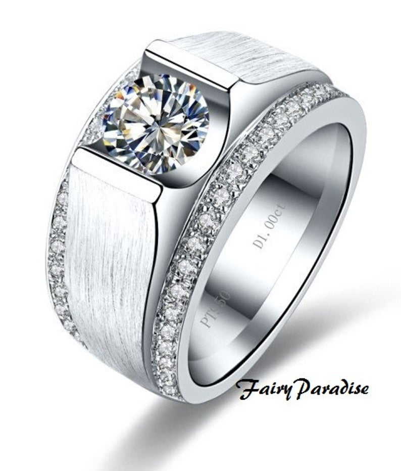 1 Carat Mens Wedding Band Wide Band Ring Male Promise Ring