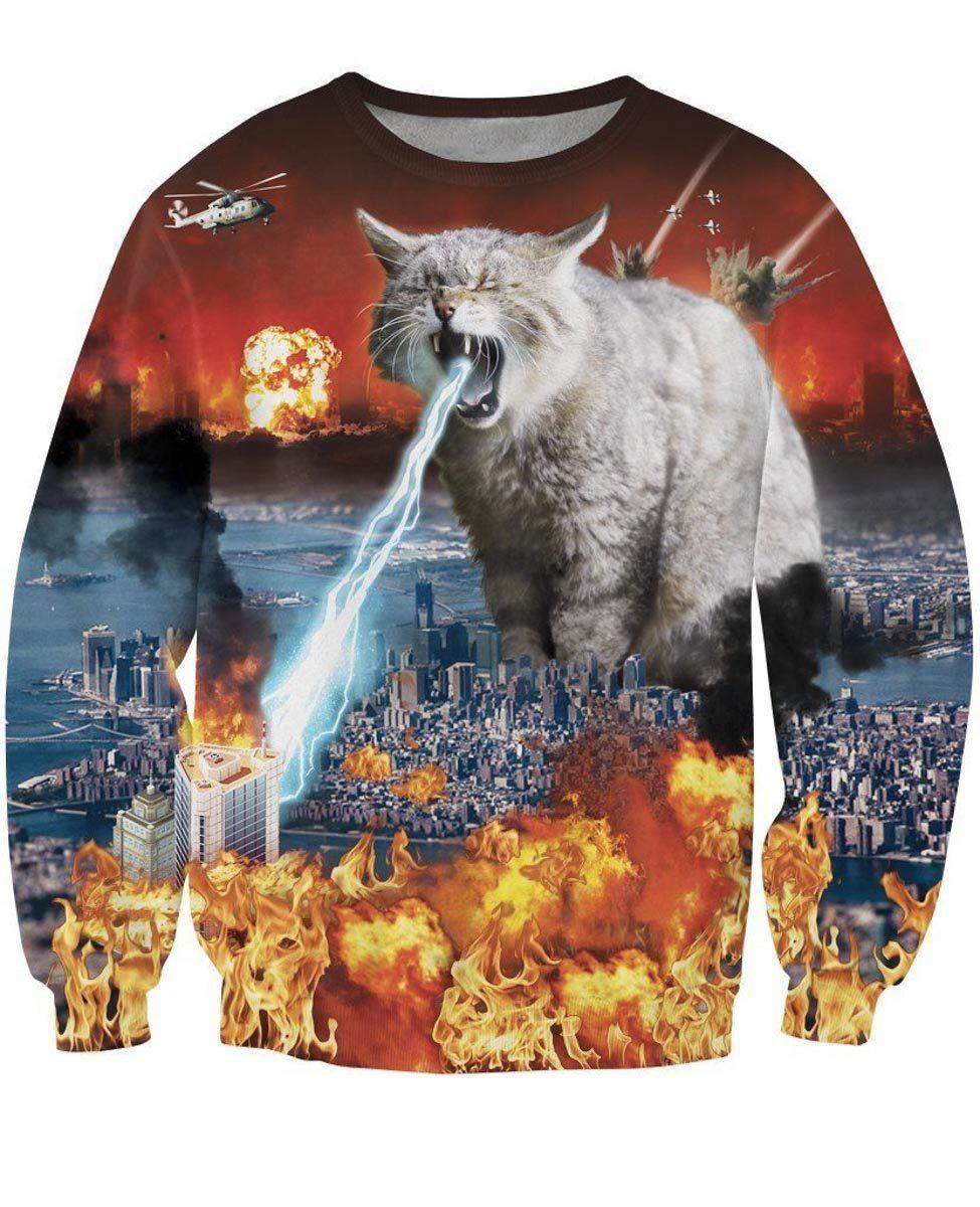 Cat Astrophe Crewneck Sweatshirt Sweatshirts Crew Neck Sweatshirt Cat Tee Shirts [ 1200 x 975 Pixel ]