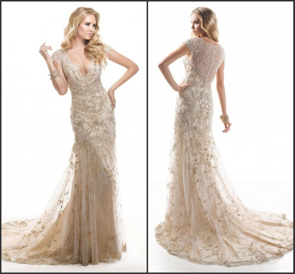 Cute illustration of champagne colored wedding dresses for Cream colored lace wedding dresses