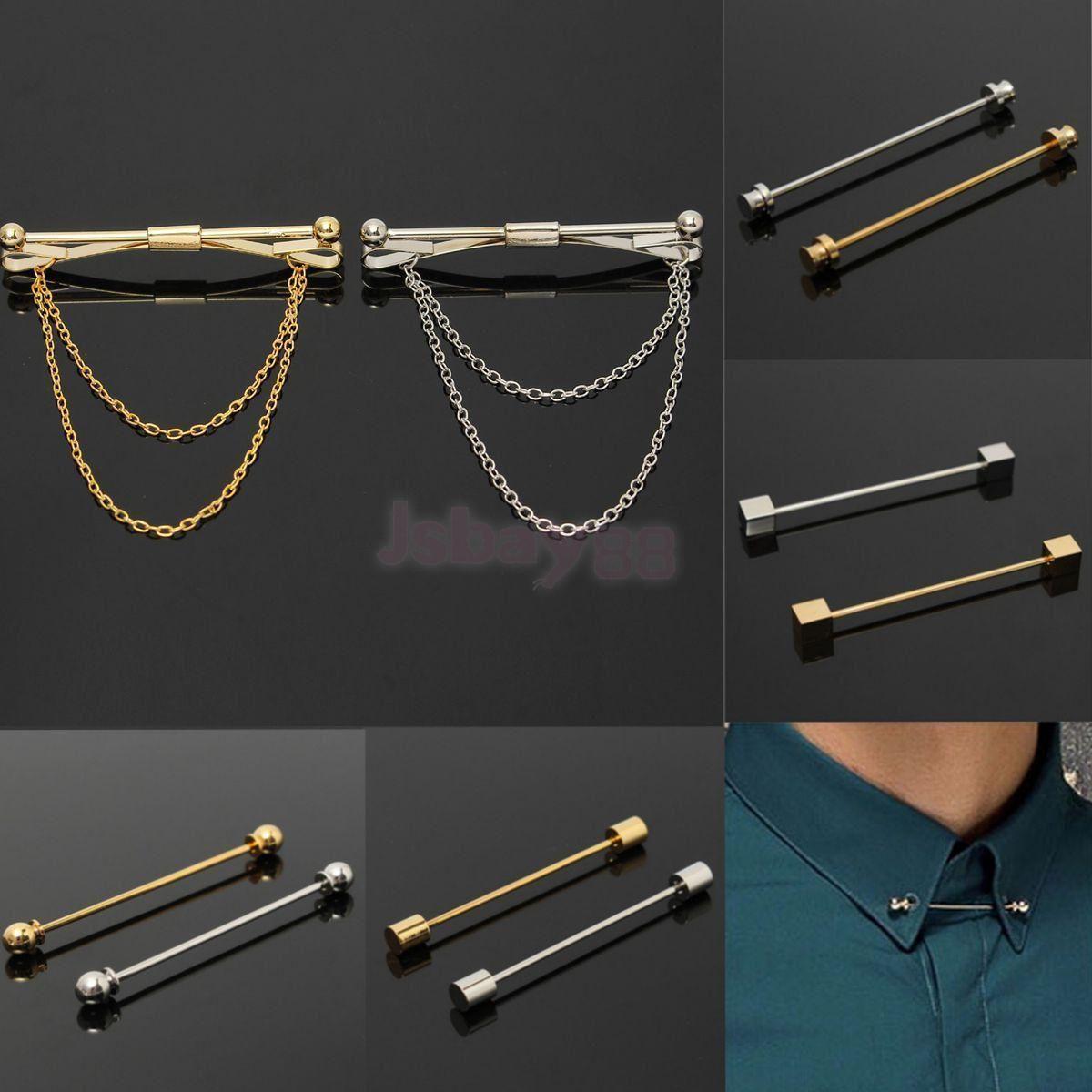 2 Piece Necktie Shirt Tie Collar Pin Tie Clip Clasp Bar Brooch Men Accessory