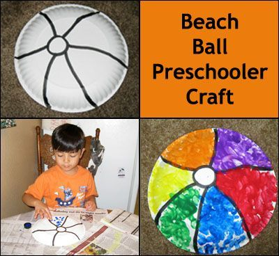 beach theme beachball art paper plate washable paint or stamp pad