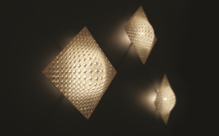 Vasarely Wall Lamps Designed By Janne Kytannen 3d Printed Unique Home Decor Jewelry Interior Lighting And Fashion Items Wall Lights Wall Lamp Design Lamp