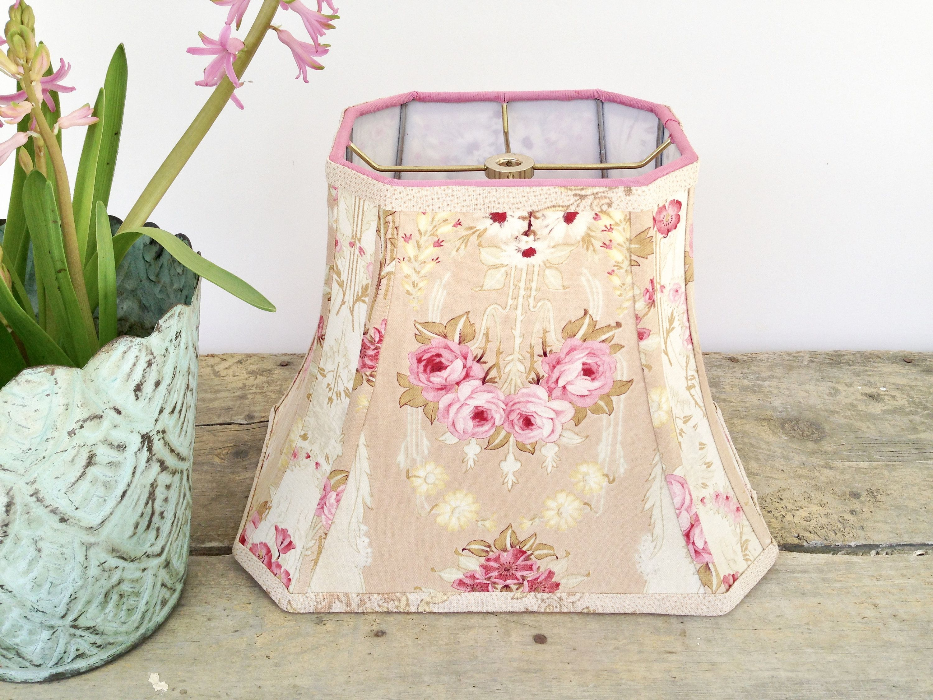 Cottage rose lamp shade rectangle bell lampshade 7t x 12b x 95h cottage rose lamp shade rectangle bell lampshade x x vintage french fabric pink flowers only one pretty by lampshadelady on etsy mightylinksfo