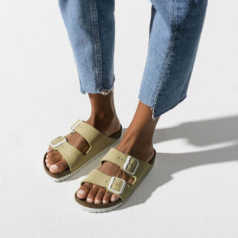 Birkenstock Arizona Suede Leather Vanilla Two Strap Sandals Suede Leather Strap Sandals Women