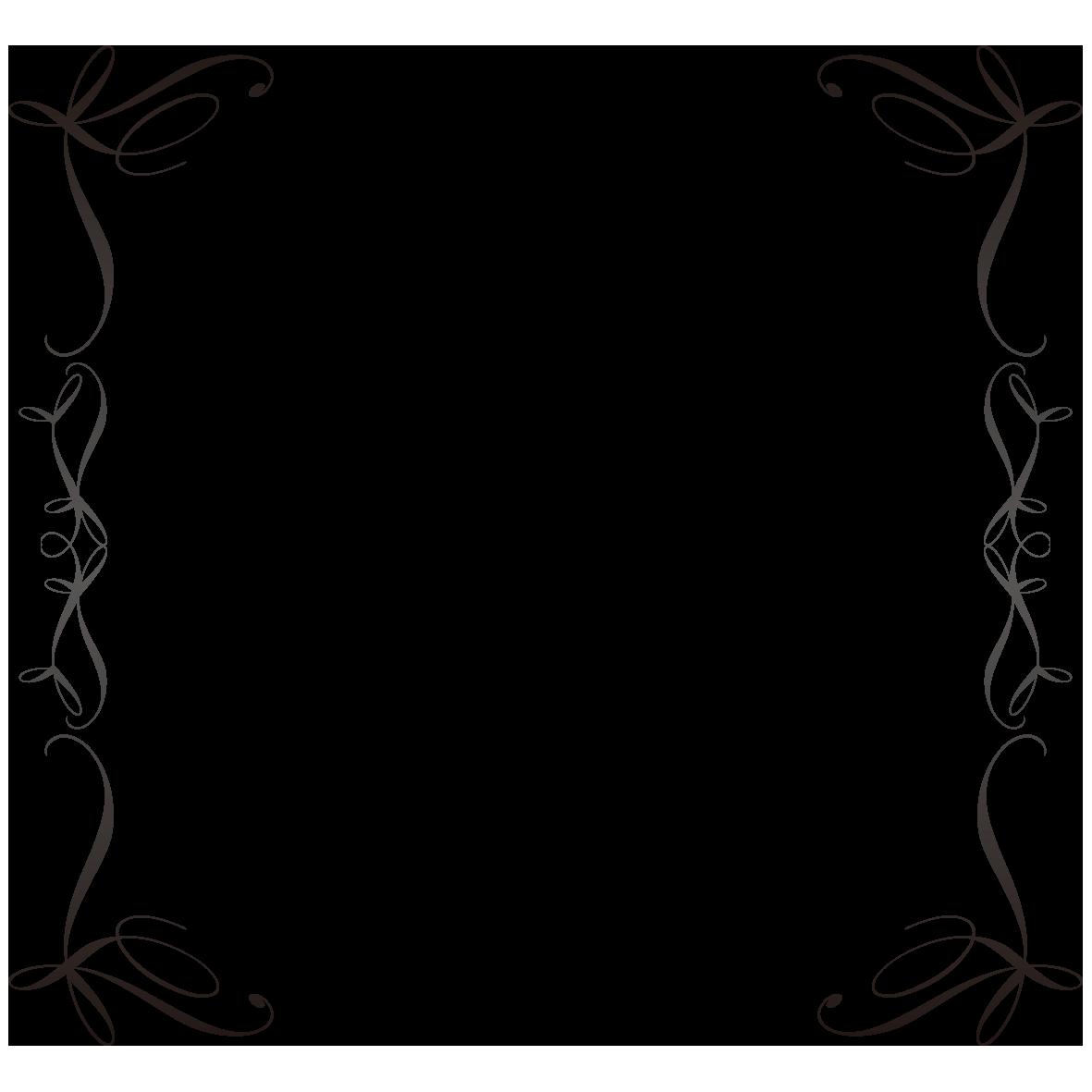 シックな括弧型フレーム フレーム 花の線画 フレーム イラスト