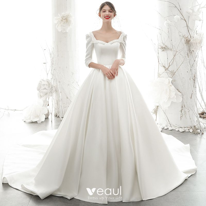 Vintage Retro Ivory Satin Bridal Wedding Dresses 2020 Ball Gown Square Neckline 3 4 Sleeve Backless Beading Pearl Chapel Train Ruffle In 2020 Pearl Wedding Dress A Line Wedding Dress White Ball Gowns