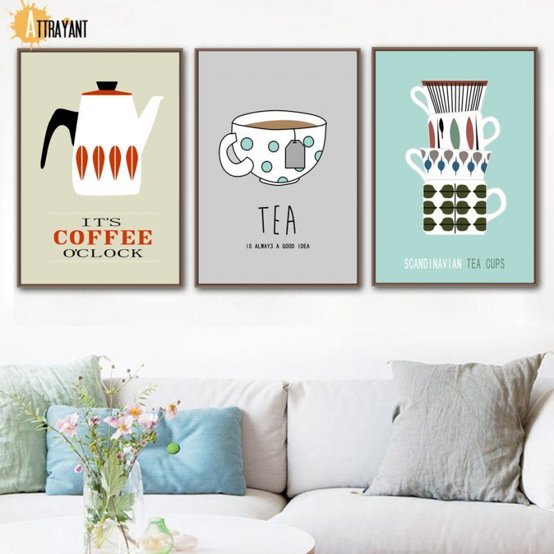 Coffee Tea Cups Wall Art Canvas Painting Nordic Posters And Prints Wall Pictures For Living Room Kitchen Dining Room Home Decor Wall Art Canvas Painting Dining Room Wall Art Coffee Wall