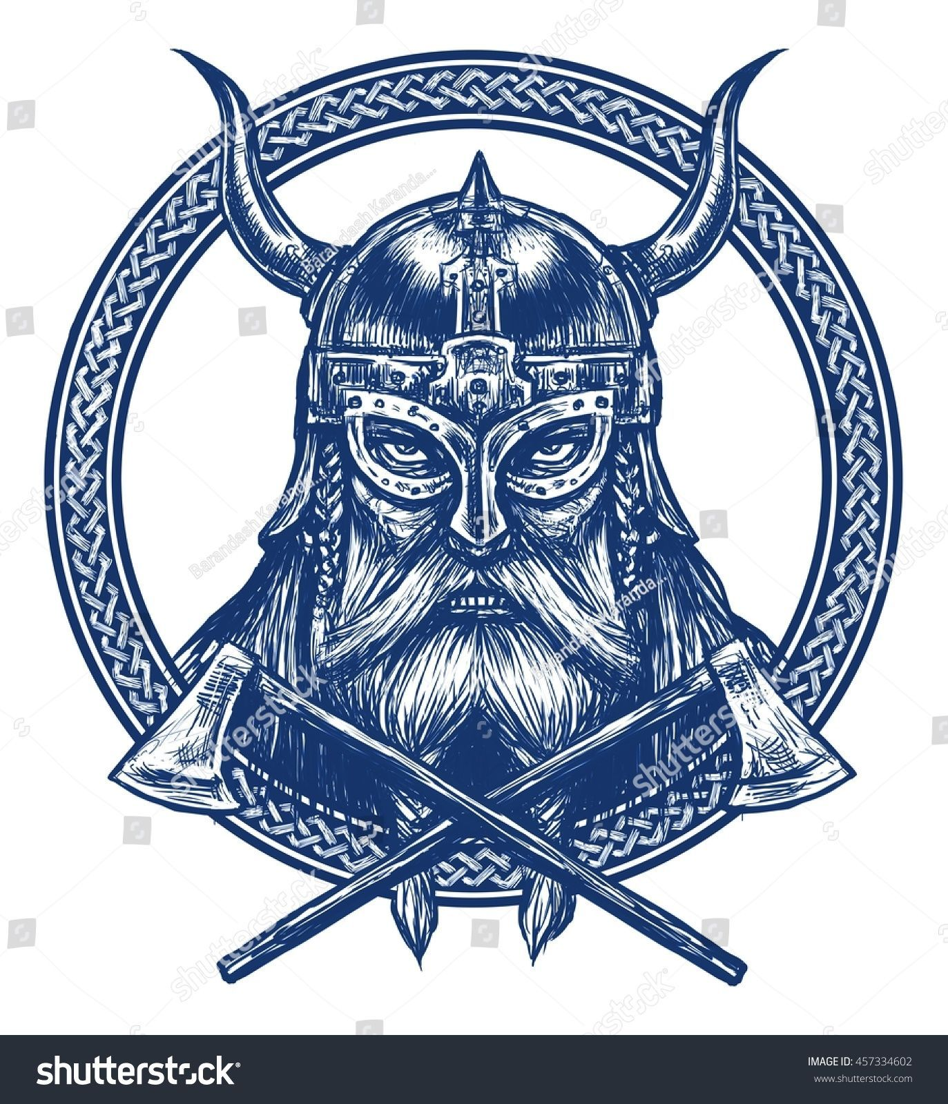 Ancient Viking Head In A Ring With Scandinavian Ornament Logo For Mascot Design Graphic Illustration The Ax Helm In 2020 Viking Head Viking Warrior Tattoos Vikings