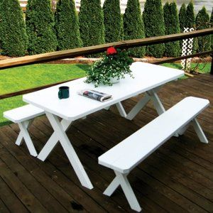 A L Furniture Yellow Pine Cross Legged Picnic Table With 2 Benches Walmart Com Picnic Table Bench Table Patio Furniture Sets