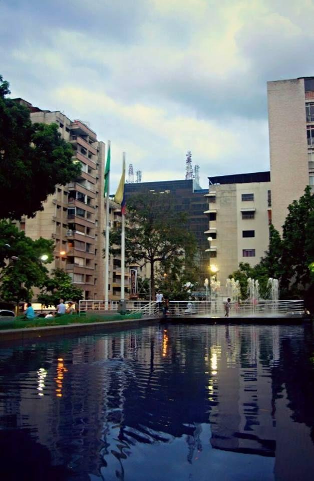 Al atardecer en la Plaza Los Palos Grandes, Caracas, Venezuela