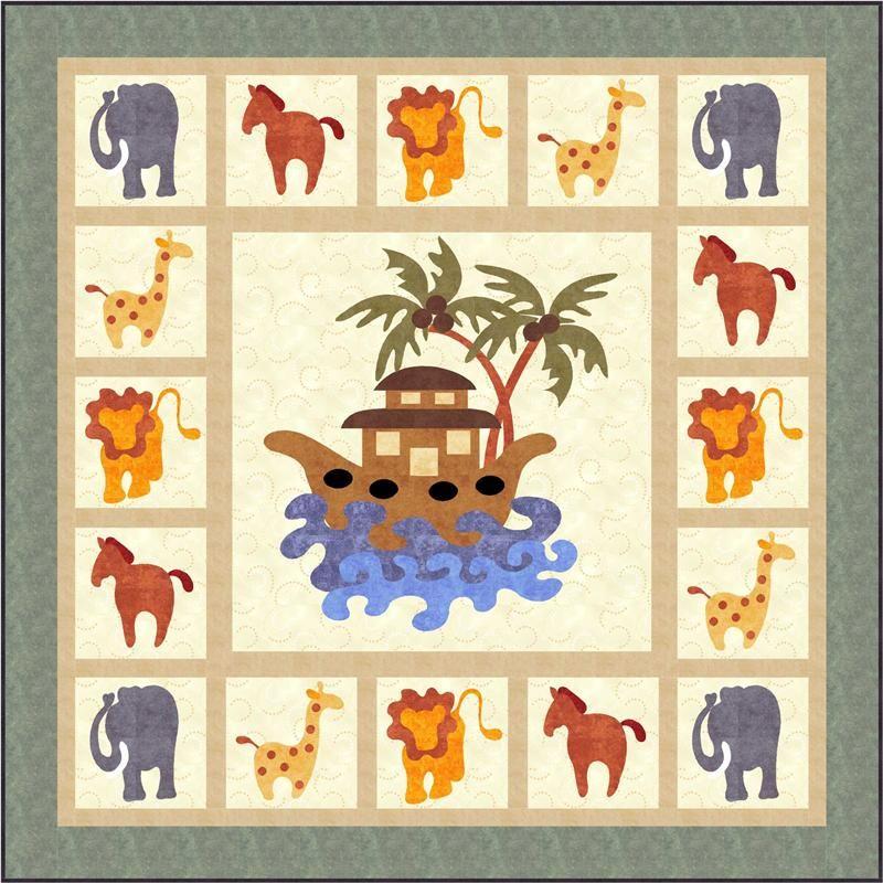 Animal Quilt Patterns Free Noahs Ark Quilt Pattern Fcp 017e