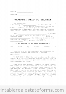 Free Warranty Deed To Trustee Printable Real Estate Forms