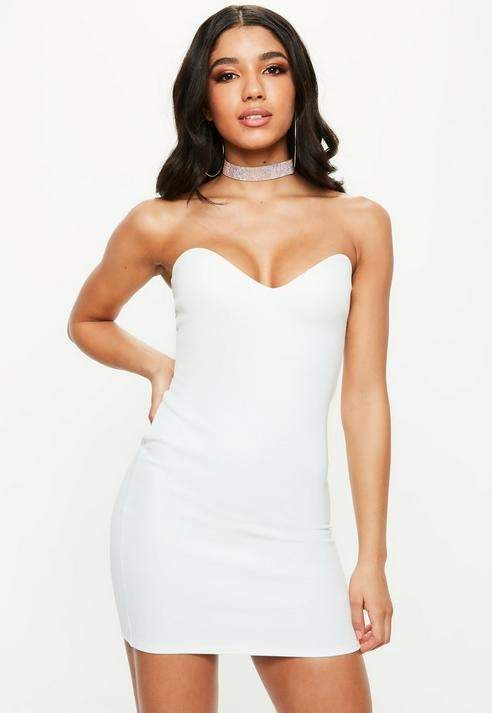 a17297ca6d08b Missguided White Bandeau Sweetheart Bodycon Dress | Products ...