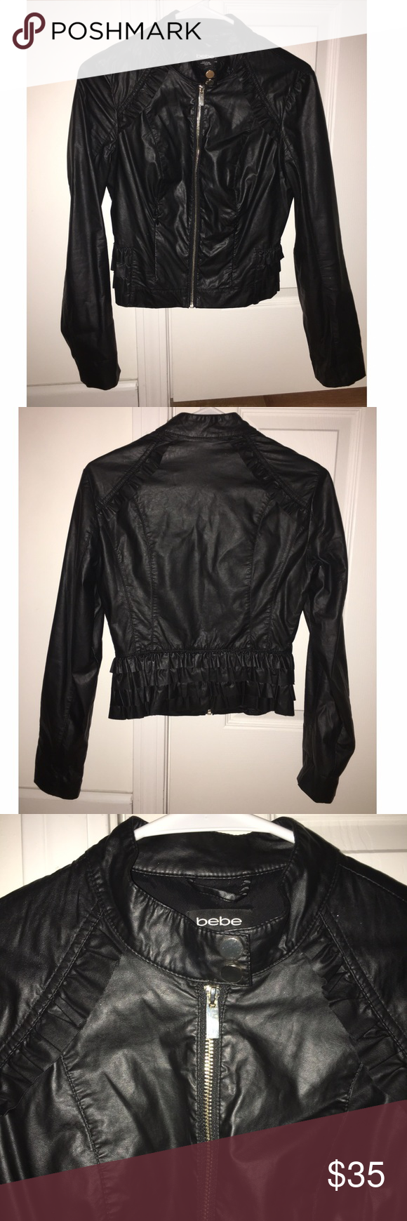 Bebe Ruffle Leather Jacket Super cute faux leather jacket with ruffle detail. Back has a cute peplum design with riddles. Thin and lined. Silver hardware. Worn twice. bebe Jackets & Coats