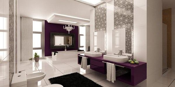 Elegant Bathrooms Designs Purple And Silver Bathroom Ideas  Ideas Mosaic Ceramic Tiles And