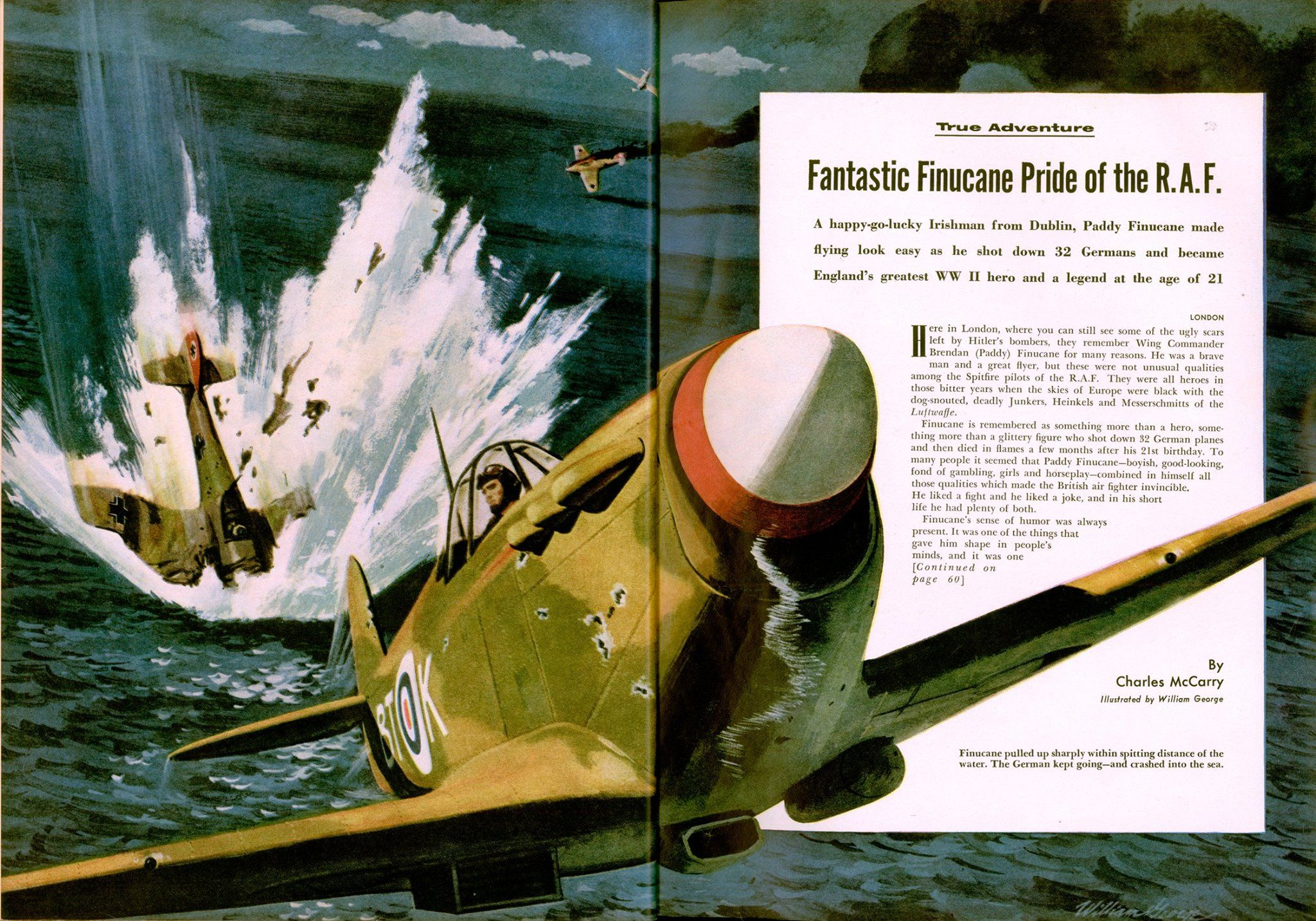 "William George - Cavalier - Sept 1959 - illustrating ""Fantastic Finucane Pride of the R.A.F."" by Charles McCarryhttps://www.facebook.com/WheatleyMarks/photos/a.120564614664549.25428.112424898811854/828991857155151/?type=3"