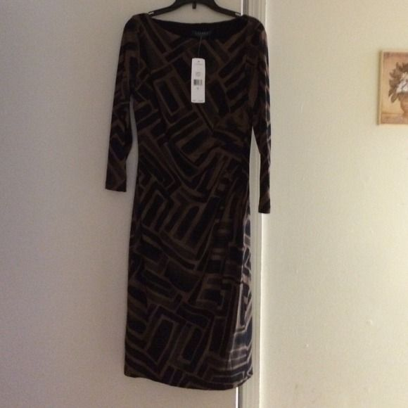 Long dress Black and brown dress stretchy Ralph Lauren Dresses