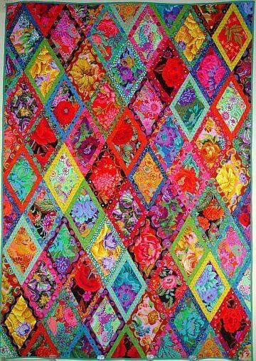Kaffe Fassett Bordered Diamonds Kit Pattern In Simple Shapes Spectacular Quilts Kaffe Fassett Quilts Quilts Colorful Quilts