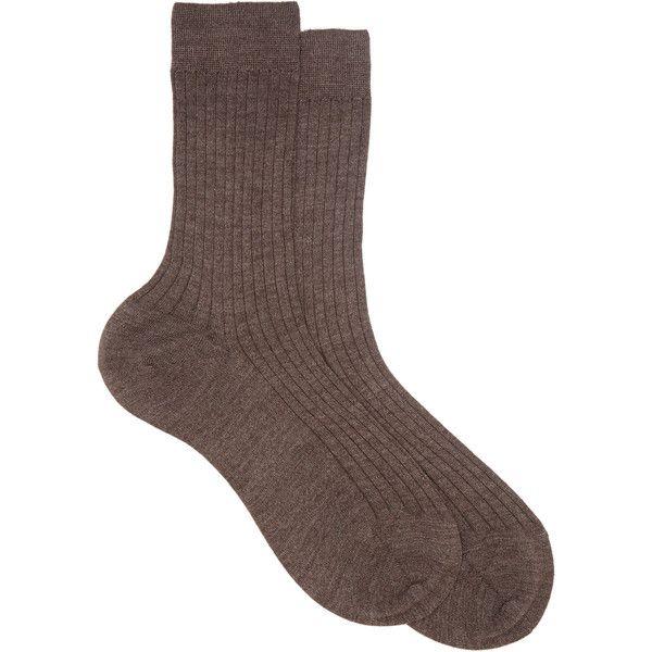 Maria La Rosa Solid Mid-Calf Sock (480 PEN) ❤ liked on Polyvore featuring intimates, hosiery, socks, brown, maria la rosa socks, brown socks, mid calf socks, cuff socks and maria la rosa