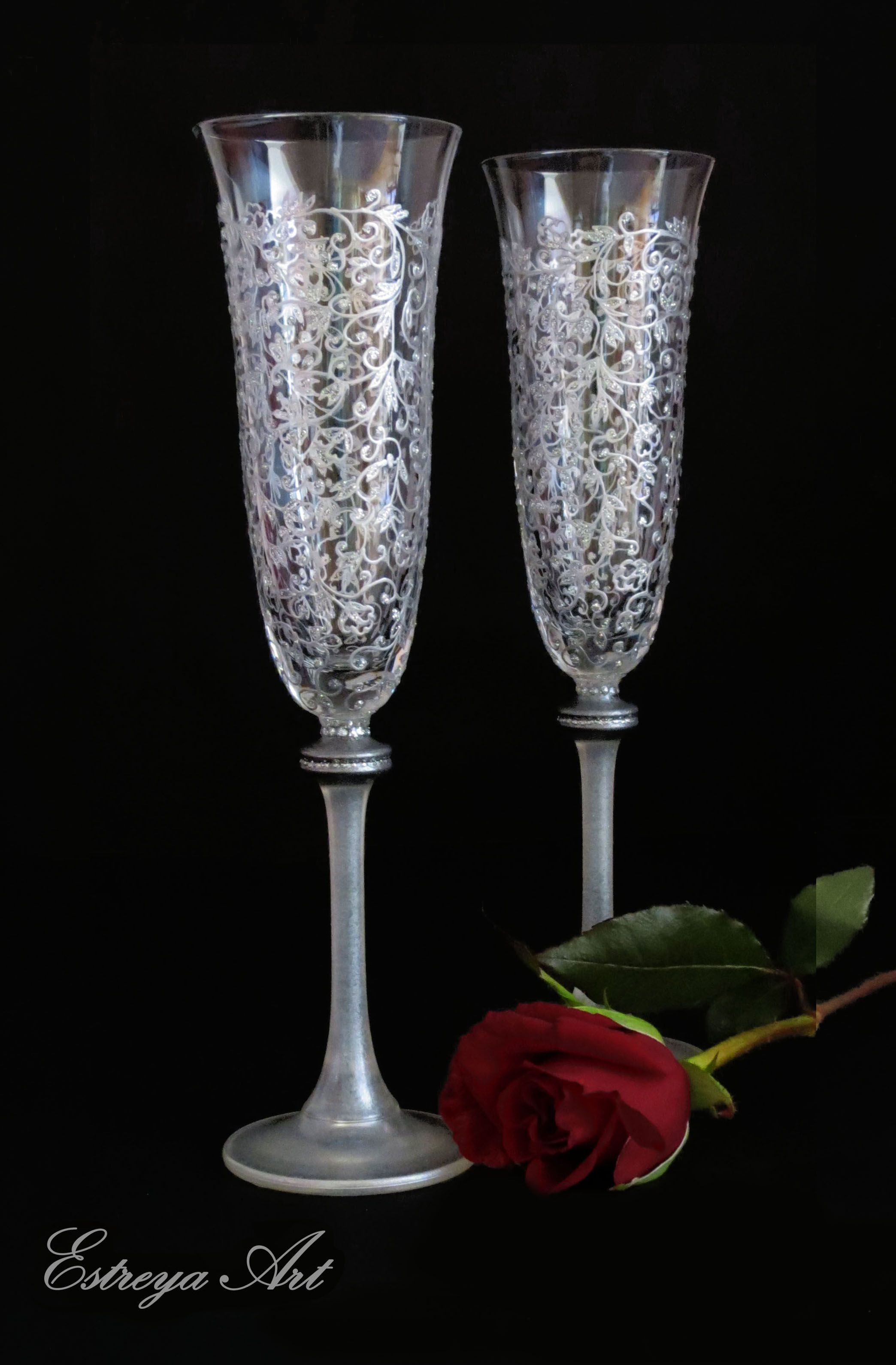 Champagne glasses wedding toasting flutes hand painted
