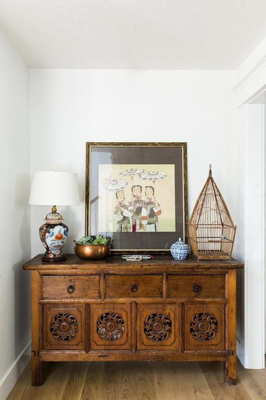 Amazing Living Room Cabinet Designs Antique Showcase Using: Vintage Asian Art + Antique Wood Cabinet In The Entryway