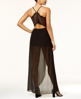 183764c3d Emerald Sundae Juniors' Lace-Back Romper Dress - Black L   Products ...