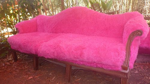 Home decor lessons I learned from Burning Man   Fur, Pink couch and ...