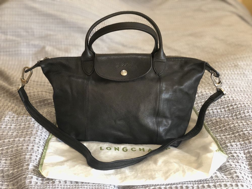 1a8f17dc546 Longchamp Small Le Pliage Cuir Black Leather Top Handle Tote #fashion  #clothing #shoes #accessories #womensbagshandbags ...