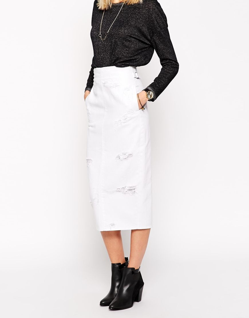 Image 4 of ASOS Denim High Waisted Midi Skirt With Rips in White ...