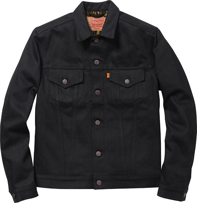Levi S Supreme Selvedge Denim Trucker Jacket Custom Fit W Leopard