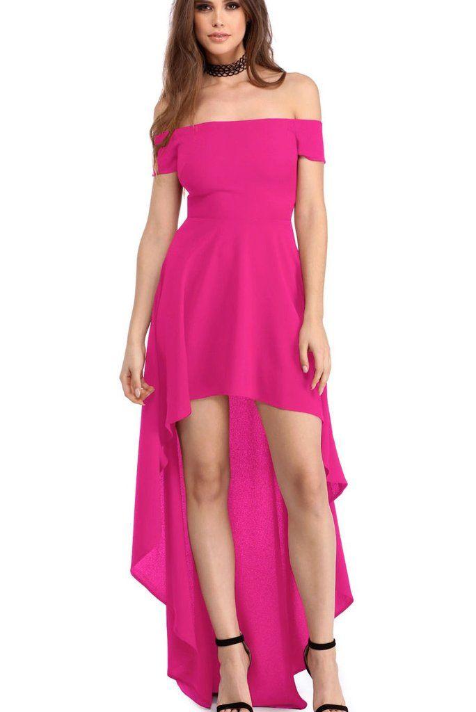 Robes de Soiree Courte Devant Longue Derriere Rose Epaules Denudees