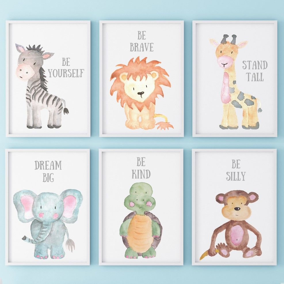 Posterset (Giraffe, Löwe, Zebra) Poster kinderzimmer