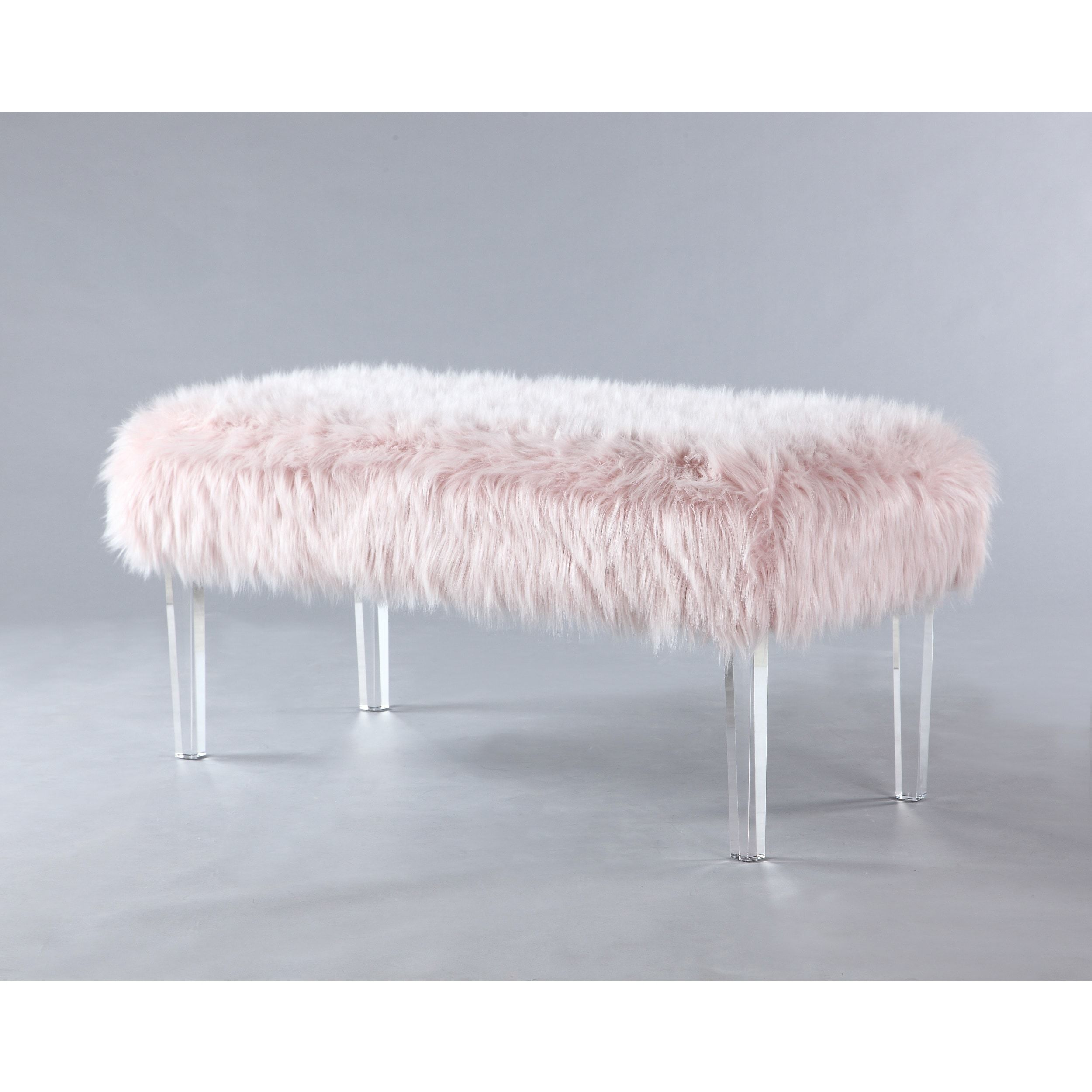 Chic home samuel modern contemporary faux fur acrylic leg bench pink furniture outlet