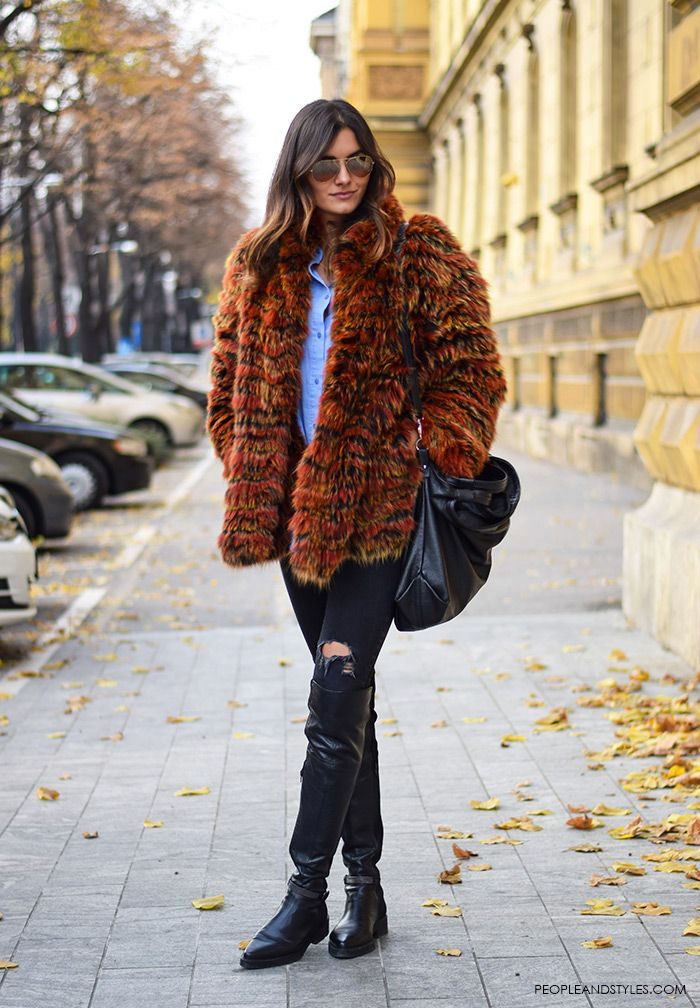 stylish street style look with multicolored faux fur coat by ...