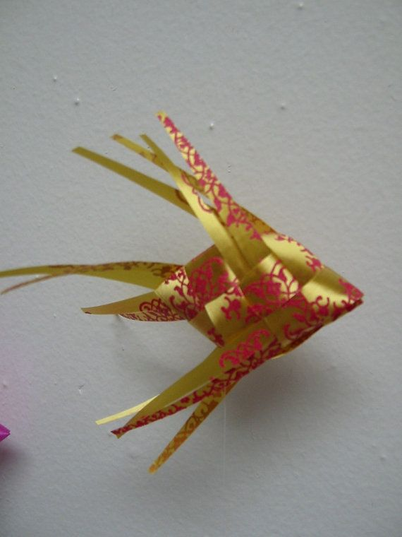 Ribbon Fish Mobile/embossed gold/hot pink by LenasFishMobilesEtc, $55.00