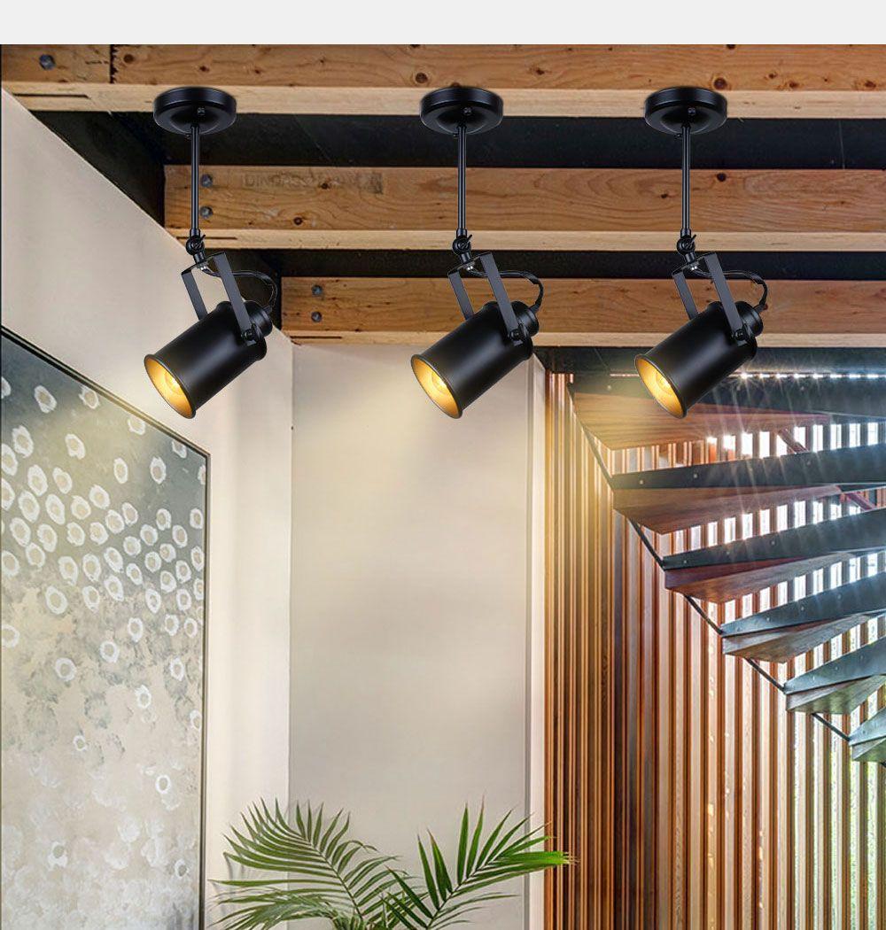 Ascelina led spotlights american vintage loft pendant light iron led lamp e27 spotlight mercantile lighting for bar cafe