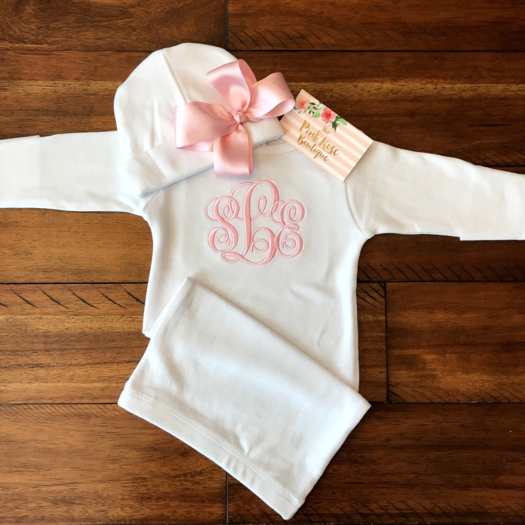 Personalized Baby Gown - White Gown W/ Light Pink Bow Cap | Baby ...