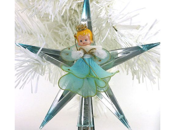 1950s Vintage Christmas Tree Topper, Blue Angel, Plastic