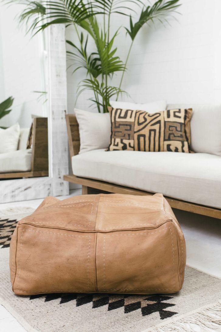 Peachy Hendrix Harlow Pickstitch Papa Leather Ottoman Light Tan Evergreenethics Interior Chair Design Evergreenethicsorg