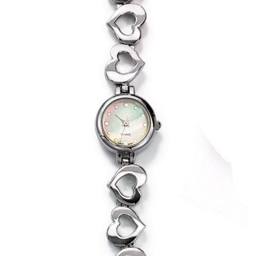 Ladies Shiny Silvertone Open Heart Link Bracelet Watch Featuring