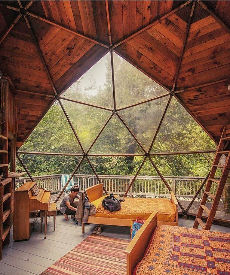 These Geodesic Domes Were Very Popular In The 70s In A Cabin I Find Them Particularly Interesting Shot By Thea Geodesic Dome Homes Dome House Dome Home