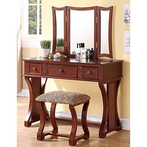 1PerfectChoice Tri Folding Mirror Curved Lines Vanity Makeup Table - Bedroom Vanity Table
