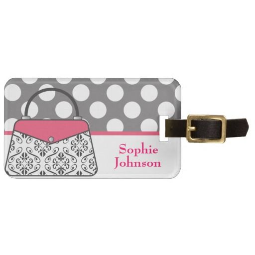 Pink and Black Damask Purse Handbag Personalized Luggage Bag Tag. Makes a great gift! Perfect for luggage, diaper bag, etc. www.gem-ann.com (Zazzle store)