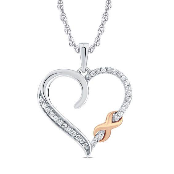 e4c23c823 1/10 CT. T.w. Diamond Heart with Infinity Pendant in 10K Two-Tone ...