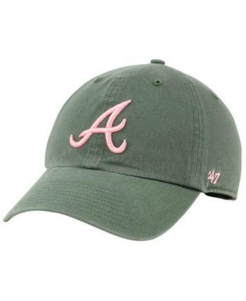 47 Brand Atlanta Braves Moss Pink Clean Up Cap Green Adjustable 47 Brand Atlanta Braves Baby Clothes Shops