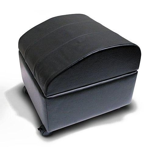 Enjoyable Black Leather Ottoman W Inside Storage Locking Casters Bralicious Painted Fabric Chair Ideas Braliciousco