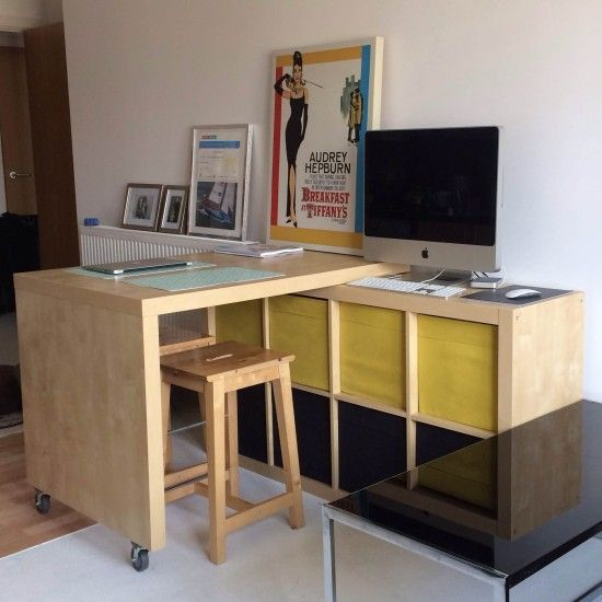 Expedit And Bosse Table Breakfast Bar Workspace With Storage Ikea Hackers Ikea Home Multipurpose Table