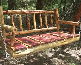 Personalized 4 Rustic Cedar Log Spindle Back Porch Swing Rustic Porch Swing Wood Porch Swing Poverty Gulch Rustic Porch Swing Rustic Porch Porch Swing