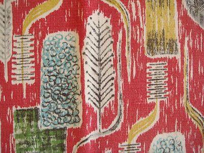 Vintage 50s Barkcloth Curtain Fabric 50 S And Retro